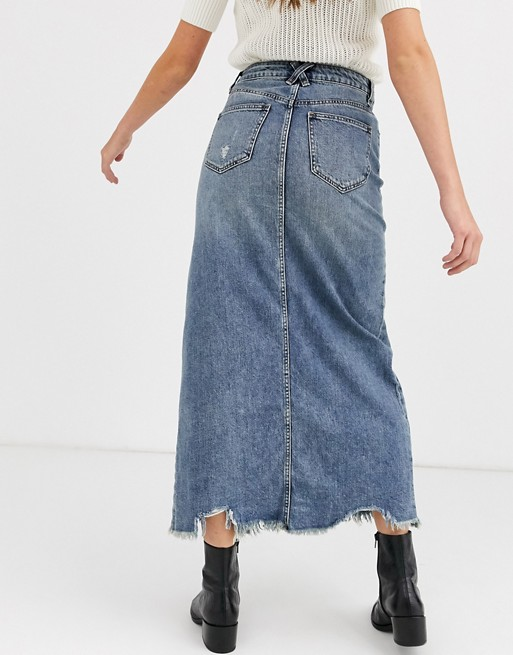 We The Free by Free People denim maxi skirt with front split | AS