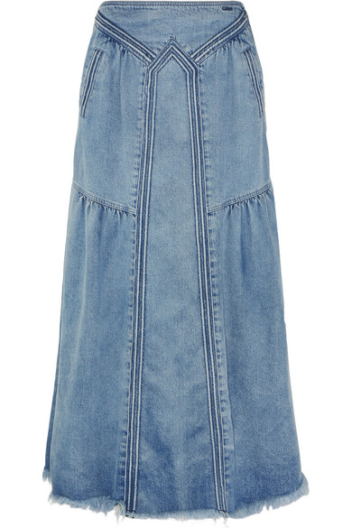 Chloé | Frayed denim maxi skirt | NET-A-PORTER.C