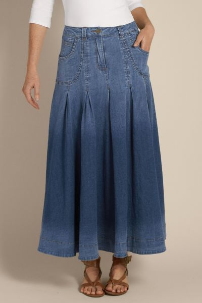 Pleated Denim Skirt Ii - Denim Maxi Skirt, Long A-line Denim Skirt .