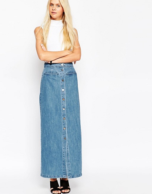 ASOS Denim Maxi Skirt With Button Front In Mid-Wash Blue | AS