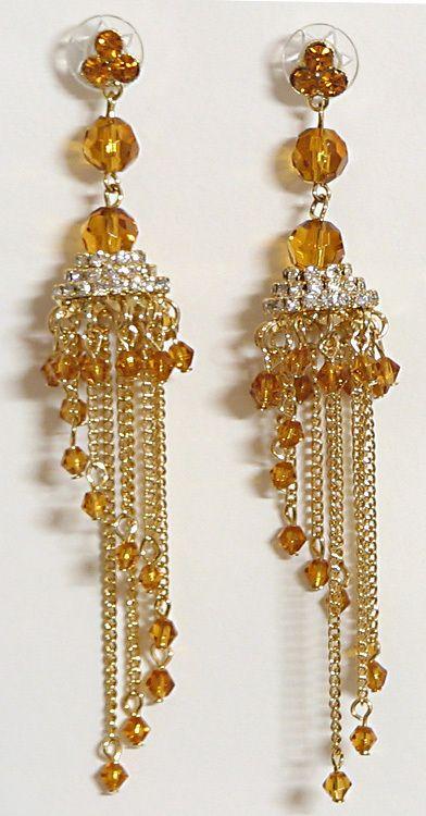 Stone Studded Gold Plated Designer Earrin