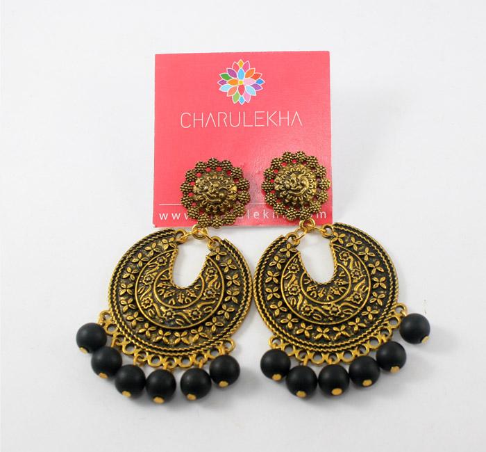 Designer Earrings with Black Matte Beads - Charulekha - Buy .