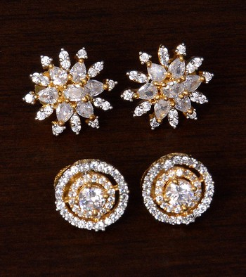 American Diamond Embellished Two Pairs of Designer Earrings Studs .