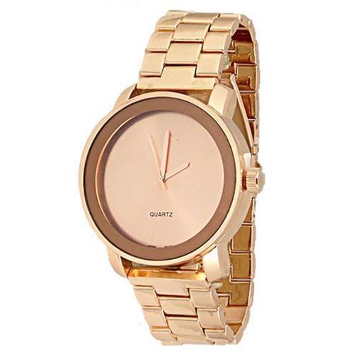 Rose Gold Watch Designer Classy Fashion Unisex Geneva Metal Band .