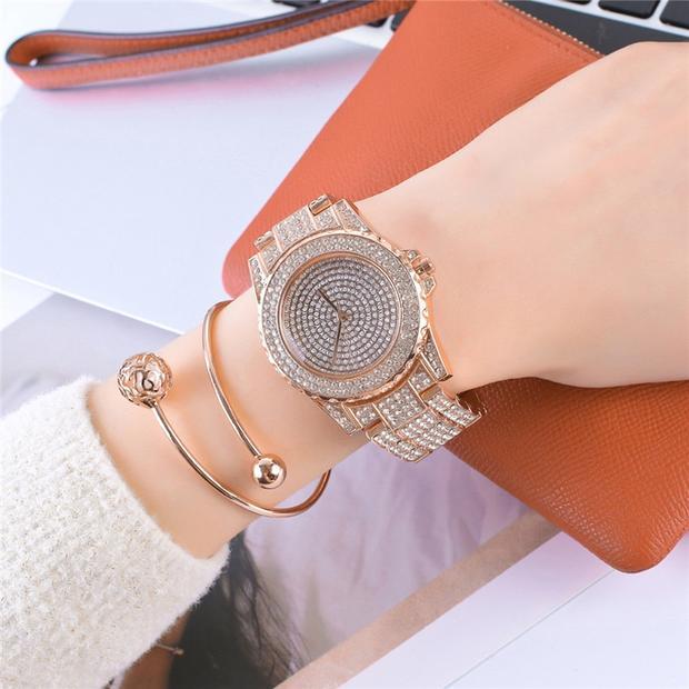 Women's Designer Watches Rose Gold Bracelet Ladies Rhinestone .