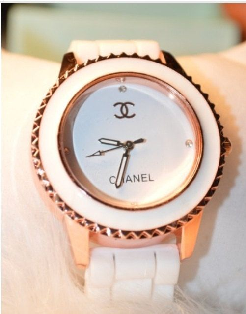 Inspired Chanel Watch, Women's Watch, White and Rose Gold, Ladies .