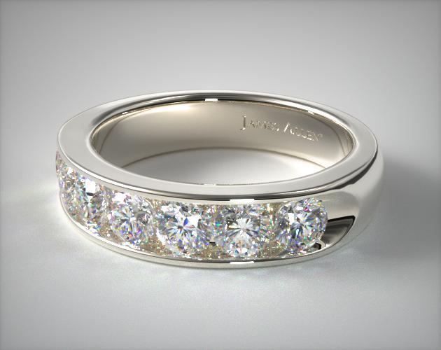 1.50ct 5mm Channel Set Diamond Anniversary Ring | 18K White Gold .