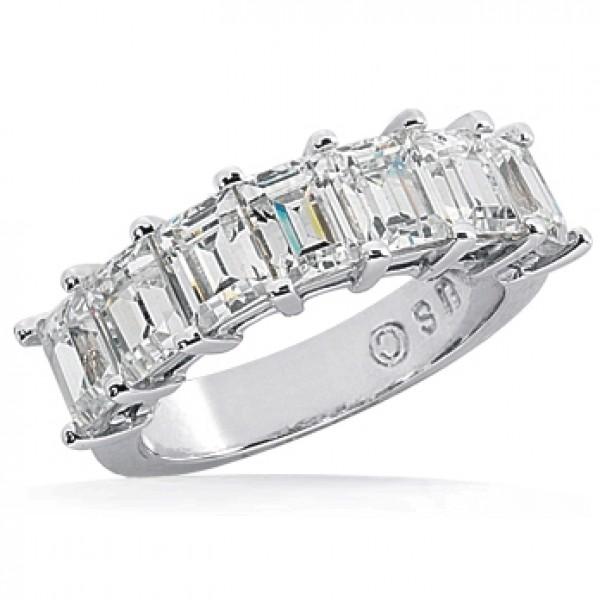 7 Emerald Cut Diamond Anniversary Ring, 0.20 ct Each, 1.40 tcw .