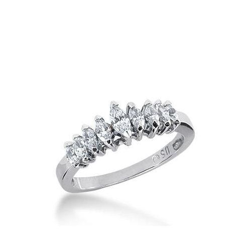 14k Gold Diamond Anniversary Wedding Ring 9 Marquise Shaped Diamonds