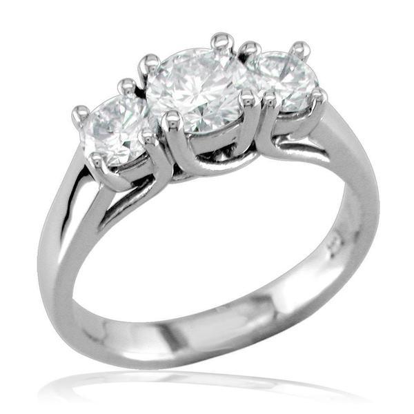 Complete 3 Stone Round Diamonds Anniversary Ring, 0.65CT in 14k .