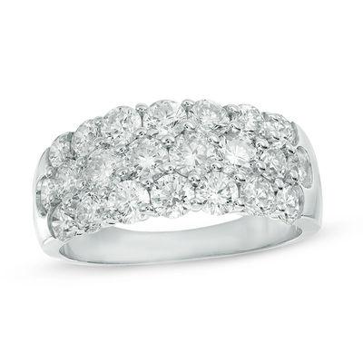 2-3/8 CT. T.W. Diamond Three Row Anniversary Ring in 14K White .