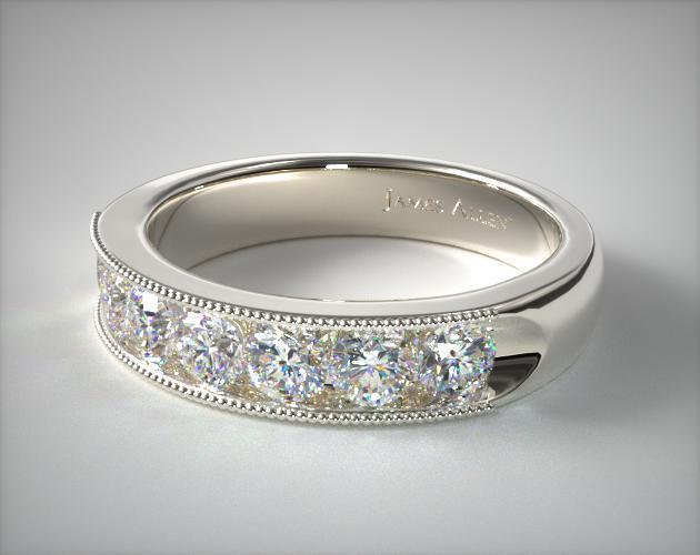 18k White Gold 1.00ctw Channel Set Diamond Anniversary Ri