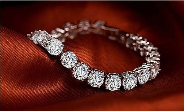 Online Shop 1CT Round Cut Fine Diamond Bracelet for Women Sterling .