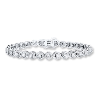 Diamond Bracelet 1 ct tw Round-cut 10K White Gold | Womens .