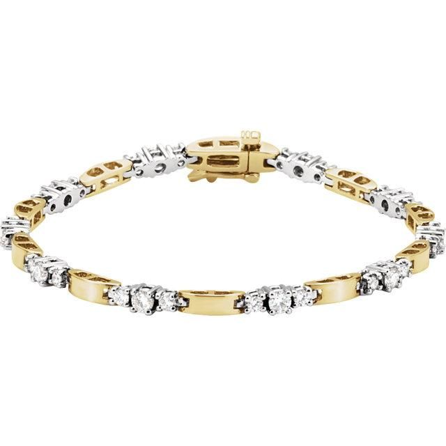 14k Two-Tone Gold Diamond Accented Line Bracelet | Bracelets gold .