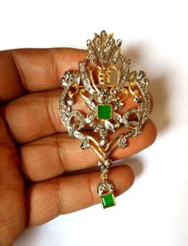 Amazon.com: Rose Cut Genuine Diamond Brooch Oxidized & Gold Finish .