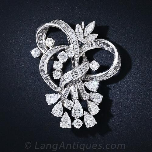 Platinum Diamond Pendant Brooch c. 1950