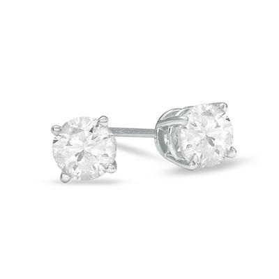 1 CT. T.W. Diamond Solitaire Stud Earrings in 14K White Gold .