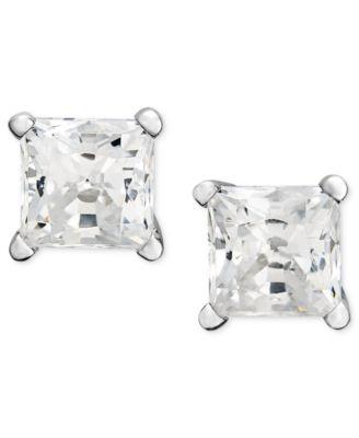 Macy's Princess-Cut Diamond Stud Earrings in 14k White Gold .