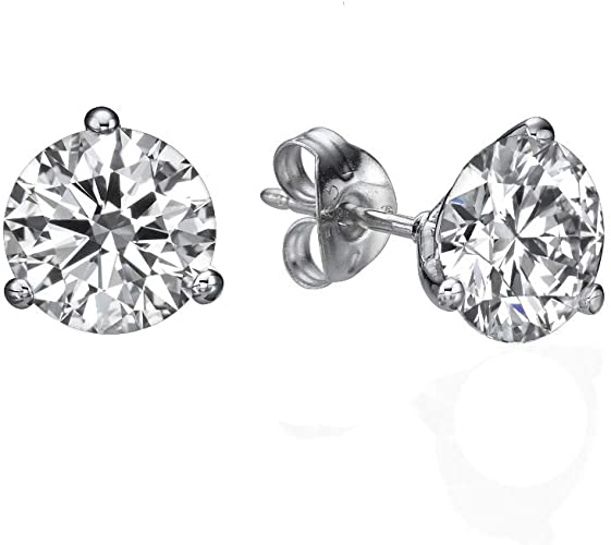 Amazon.com: 1 Carat D-F VVS-VS Diamond Stud Earrings Certified Lab .