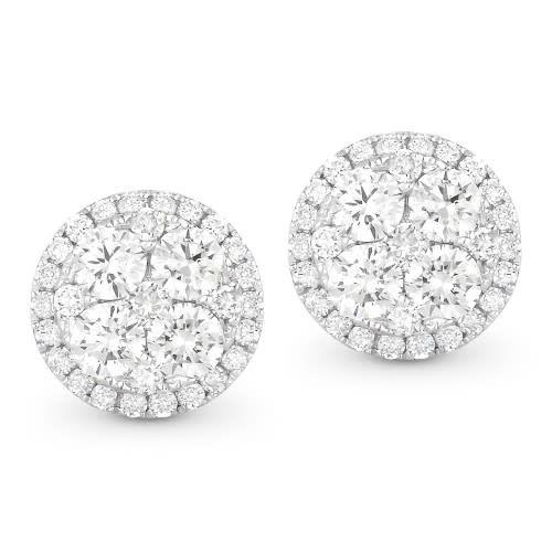 DE10601 Round Diamond Cluster Stud Earrings - Freedman Jewele