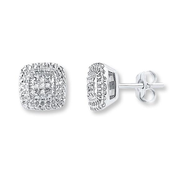 Diamond Earrings 1/20 ct tw Round-cut Sterling Silver | Womens .