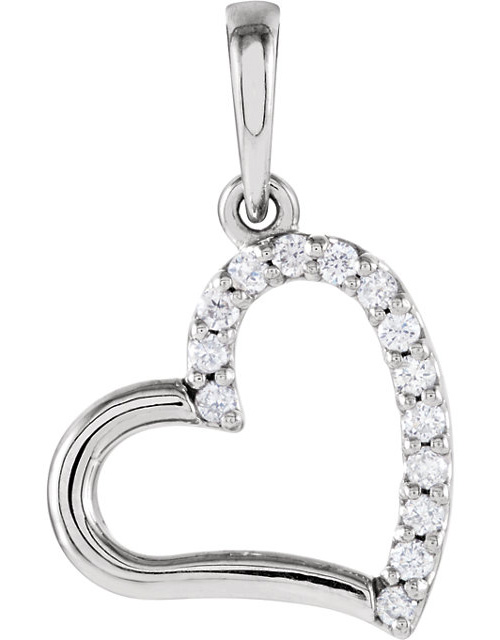Half-Diamond Heart Necklace, 14K White Go