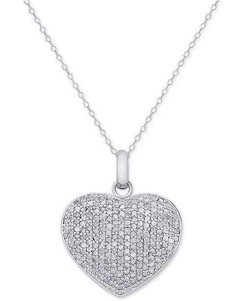 Victoria Townsend Diamond Pavé Heart Locket Pendant Necklace .