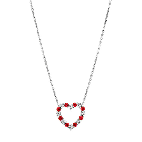 Ruby and Diamond Heart Necklace (18 in) | Shane C