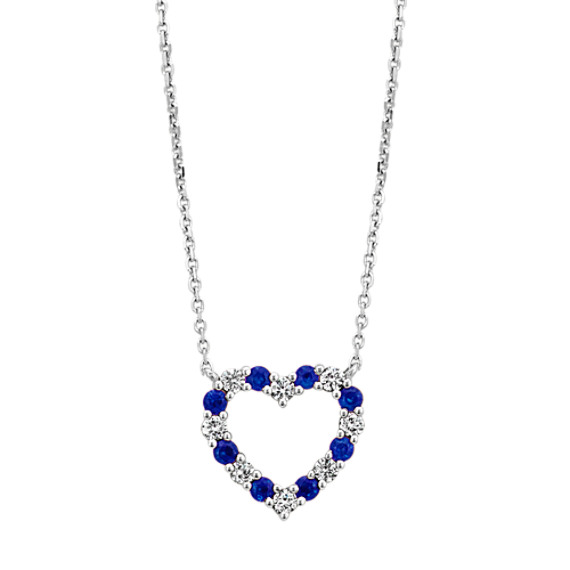 Sapphire and Diamond Heart Necklace (18 in) | Shane C