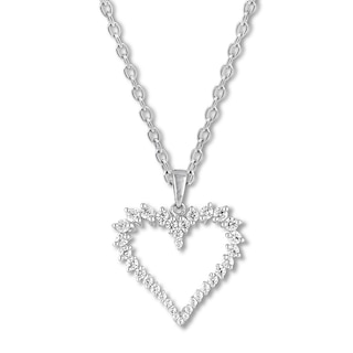 Diamond Heart Necklace 1/2 ct tw Round-cut 10K White Gold | Womens .