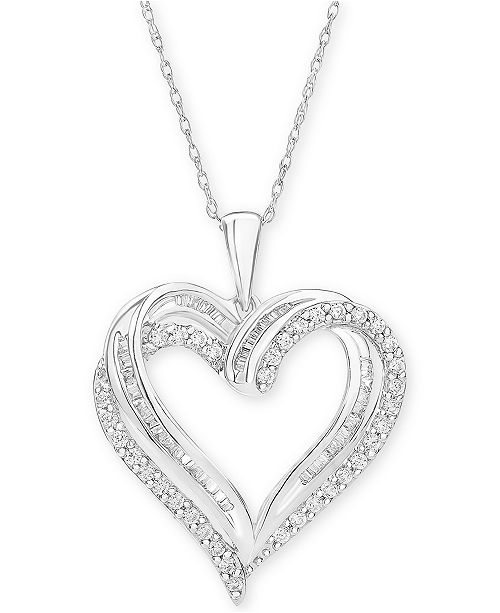 "Macy's Diamond Heart Pendant 18"" Necklace (1/2 ct. t.w.) & Reviews ."
