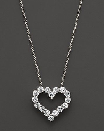 Diamond Heart Pendant Necklace in 14K White Gold, 0.50 ct. t.w. .