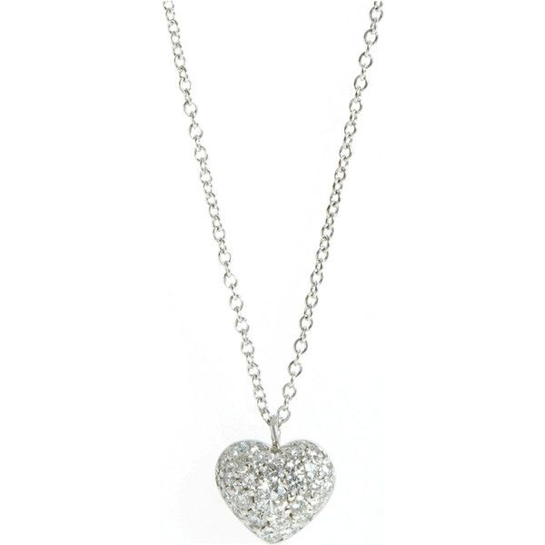 Finn Small Pave Diamond Heart Necklace ❤ liked on Polyvore .