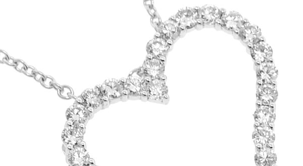Womens Diamond Heart Pendant Necklace 18K White Gold 1.64ct 1