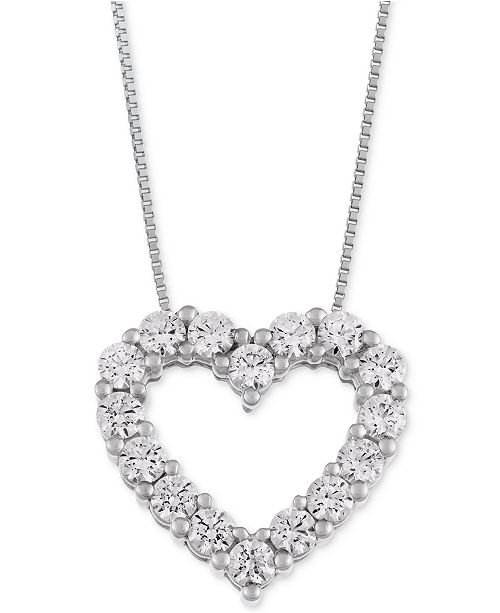 Macy's Star Signature Diamond Heart Pendant Necklace (1 ct. t.w. .