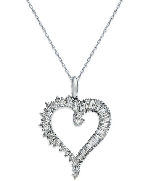 Macy's Diamond Heart Pendant Necklace in 14k White Gold (3/4 ct .