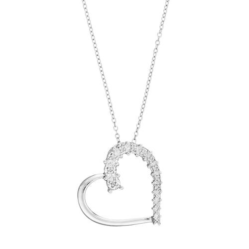 Sterling Silver 1/10 Carat T.W. Diamond Heart Pendant Neckla