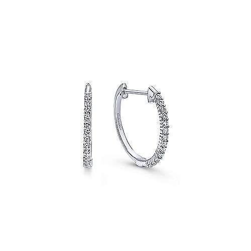 14kt White Gold 15mm Diamond Hoop Earrings - Freedman Jewele
