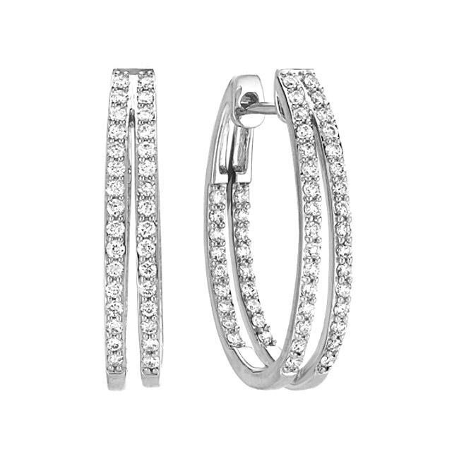 DOUBLE INSIDE/OUTSIDE DIAMOND HOOP EARRIN