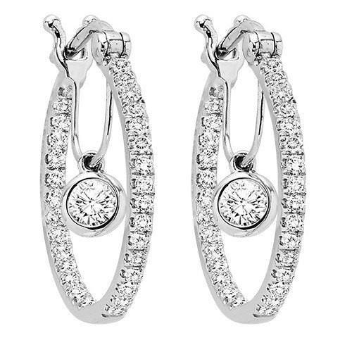 14K White Gold 1/2cttw Diamond Hoop Earrings with Diamond Dangle .