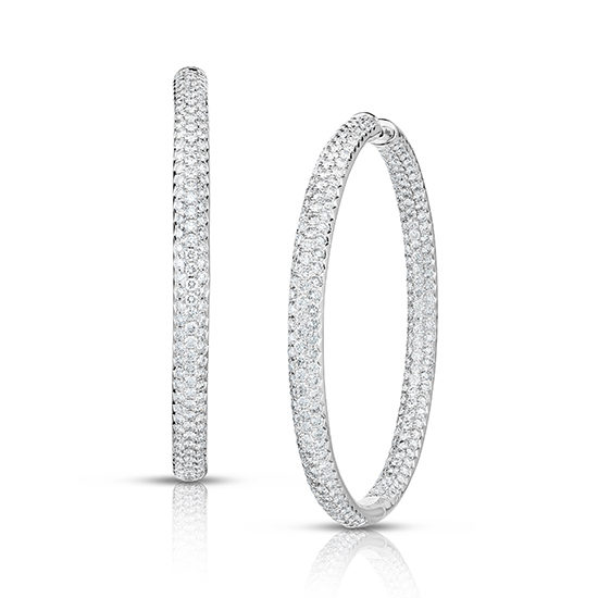 8 Carat Inside Out Micro Pave Diamond Hoop Earrings 14k White Gold .