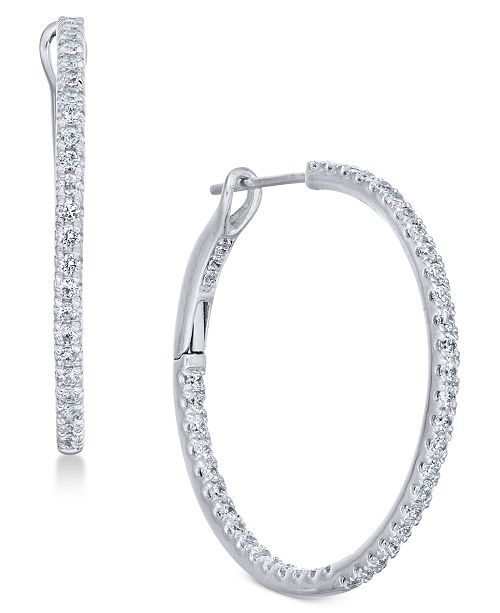 Macy's Diamond Hoop Earrings (1/2 ct. t.w.) in 14k White Gold .