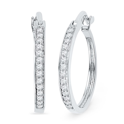 1/5 CT. T.W. Diamond Hoop Earrings in Sterling Silver | Online .