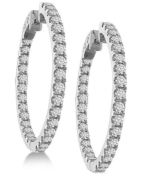 Macy's Diamond In and Out Hoop Earrings (3 ct. t.w.) in 14k White .