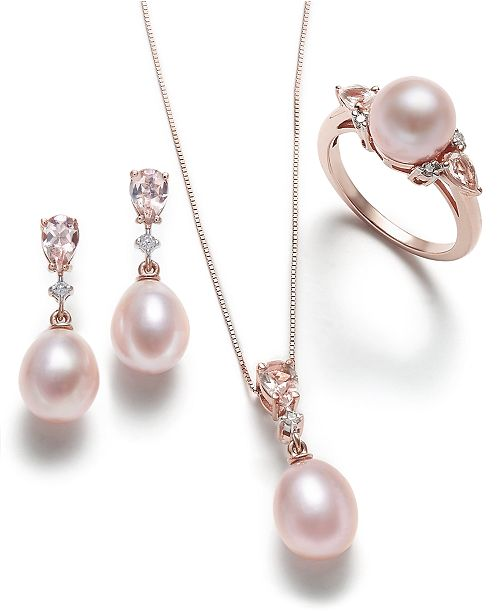 Macy's Pink Cultured Pearl, Morganite and Diamond Jewelry .