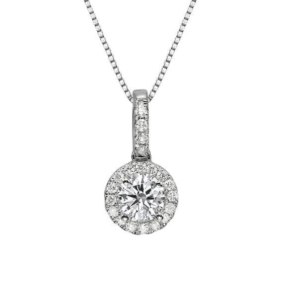 Diamond Pendant Necklace Women's 14K White Gold Round | Et