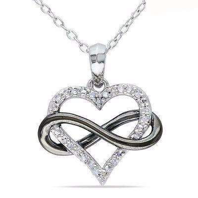 Diamond Necklace Heart Sterling Silver Necklaces Infinity Women .