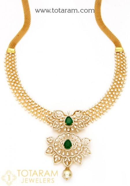 18K Diamond Necklaces for Women -VVS Clarity E-F Color -Indian .