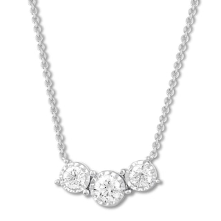 Three-Stone Diamond Necklace 1/4 ct tw Sterling Silver | Womens .